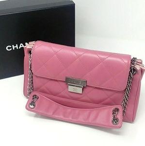 🎉Rare Auth Chanel Muave Dark Pink Caviar Flap